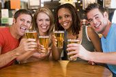 image of hair integrations  - Two couples having beer together - JPG