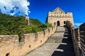 pic of qin dynasty  - Tower on the great wall of China in sunshine