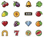 picture of plum fruit  - Vector slot machine symbols set - JPG