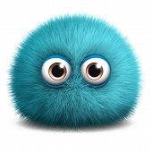 stock photo of hairy  - 3 d cartoon cute furry ball monster toy - JPG