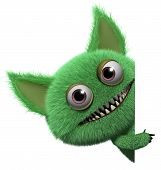 stock photo of troll  - 3 d cartoon cute green gremlin monster - JPG