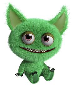 image of gremlins  - 3 d cartoon cute green gremlin monster - JPG