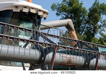 Combine harvester load wheat in the truck