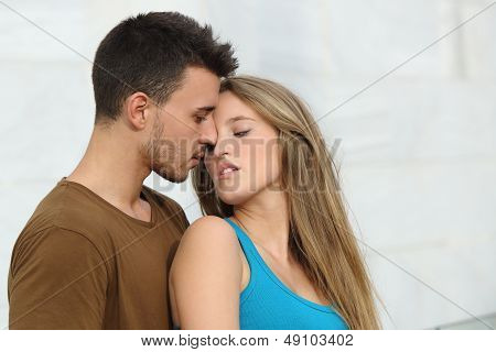 Beautiful Couple Ready To Kiss With Love
