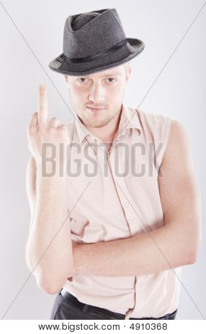 Man In Hat And Shirt