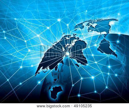 Blaue lebendige Bild der Welt. Globalisierung-Konzept