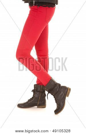 Red Pants Woman Legs Boots One On Toe