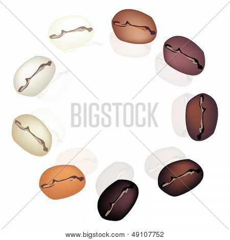 Different Colors Of Coffee Beans In Circle Shape