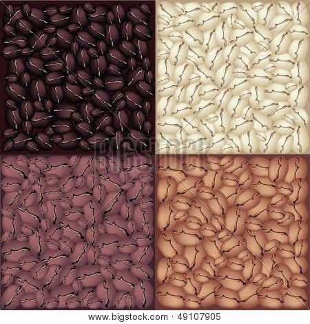 Four Colors Of Roasted Coffee Beans Background