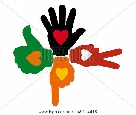 Four Multi-colored Hands