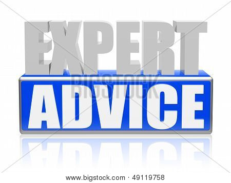 Expert Advise In Blue White Banner - Letters And Block