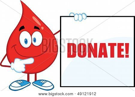 Red Blood Drop Character Showing A Blank Sign With Text