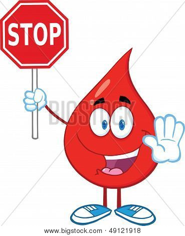 Red Blood Drop Character Holding A Stop Sign