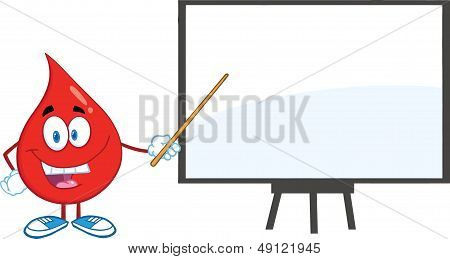 Red Blood Drop With Pointer Presenting On A Board