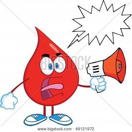 Angry Red Blood Drop Screaming Into Megaphone With Speech Bubble