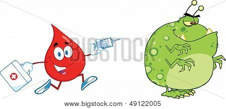 Red Blood Drop Chasing With A Syringe Germ Or Virus