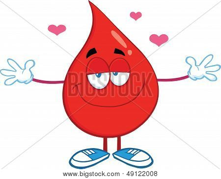 Red Blood Drop Character With Open Arms For Hugging