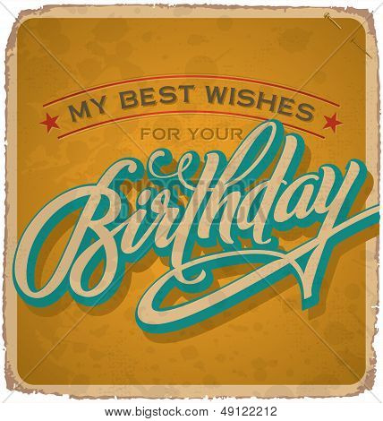 hand-lettered vintage birthday card (vector)