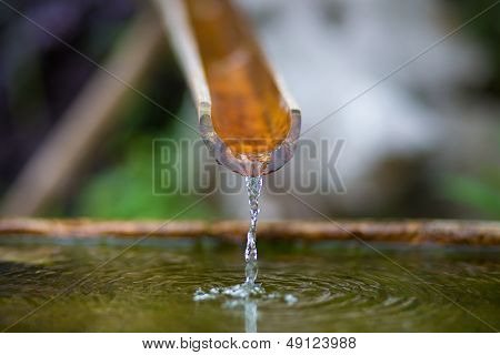 Bamboo Fountain With Water In A Temple