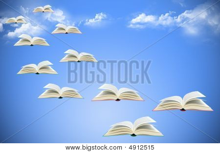 Flying Books On Sky