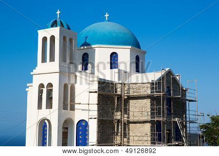 Gorgeous Blue And White Orthodox  Church Under Reconstruction