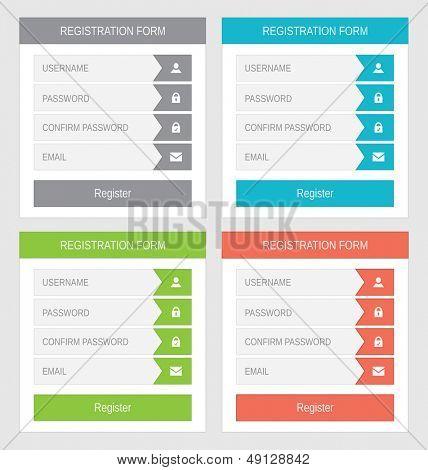 Registration form, flat design