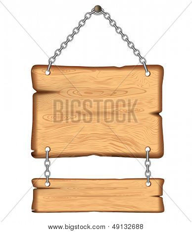 wooden sign on the chains. Rasterized illustration. Vector version in my portfolio