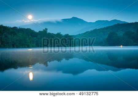 Full Moon Set Blue Ridge Mountains Lake Reflection