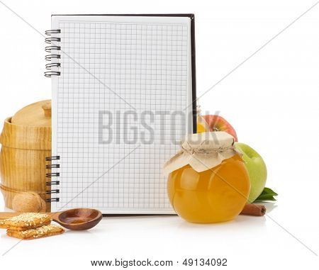 cooking recipes book and food isolated on white background
