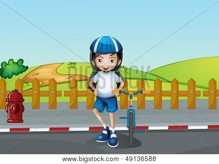 Illustration of a girl resting at the roadside near the wooden fence