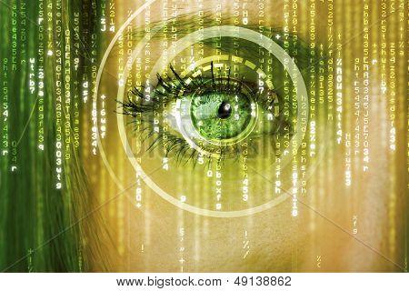 Mulher moderna cyber com conceito de olhos matriz