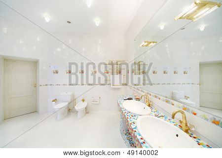 Bidet and toilet and big mirror with sinks in spacious bathroom.