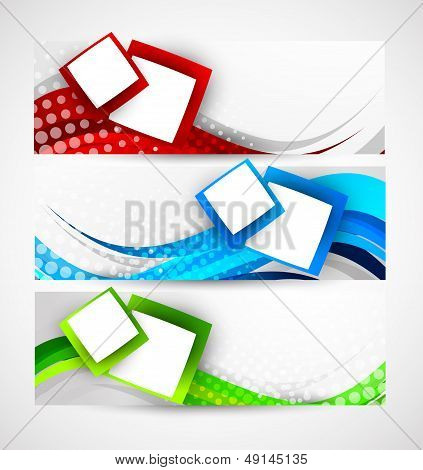 Set of abstract wavy banners