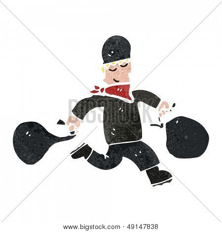 retro cartoon bank robber with bags of cash