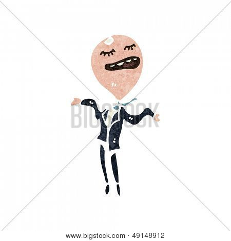 retro cartoon balloon head man