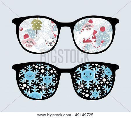 Retro sunglasses with winter reflection in it.