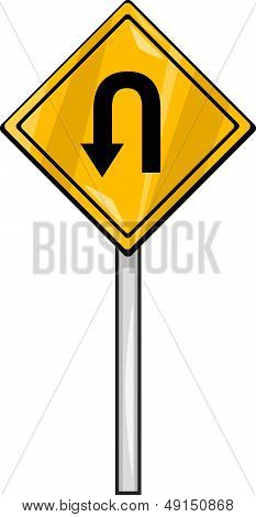 U Turn Sign Clip Art Cartoon Illustration