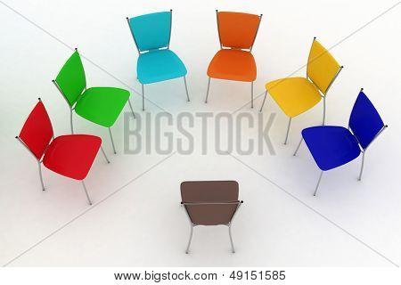 Gruppe von Stühlen kostet ein Halbrund