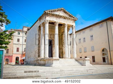Roman small temple of Augustus in the Forum place, Pula, Croatia.