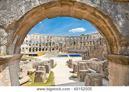 Roman amphitheatre (Arena) in Pula. It was constructed in 27 BC - 68 AD and is among six largest surviving Roman arenas in the World. Pula Arena is best preserved ancient monument in Croatia.