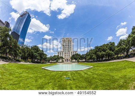 City Hall With Fountain And Flag