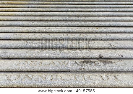 All American States Are Engraved At The Steps To The Parliament Building