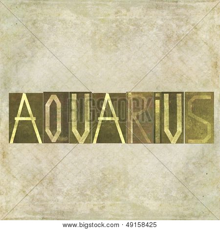 "Earthy textured background image and design element depicting the word ""Aquarius"""