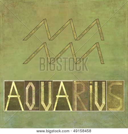 "Earthy background and design element depicting the word and symbol for the zodiac sign ""Aquarius"""