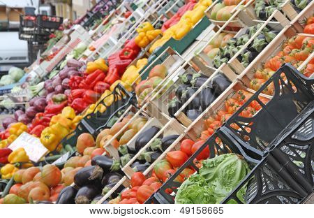 Boxes Full Of Fresh Fruits And Vegetables At Market 3
