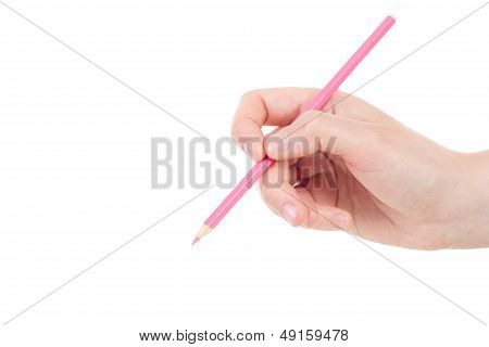 Caucasian Hand With Pink Pencil