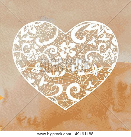 Heart Applique On Watercolour Background