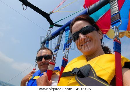 Man  Woman Parasailing