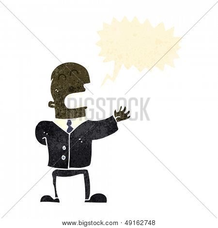 retro cartoon shouting businessman