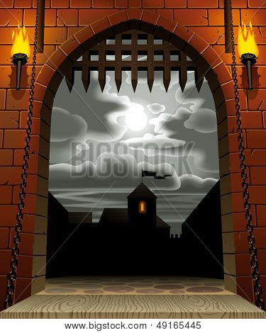 Raster version of vector image of the medieval castle gate with a drawbridge and torches against the night sky with the moon and clouds